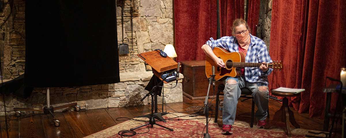 Susan Gibson recording guitar